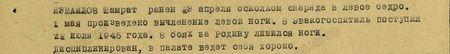 Измайлов Шамрат ранен 23 апреля осколком снаряда в левое бедро. 1 мая произведено вычленение левой ноги. В эвакогоспиталь поступил 22 июля 1945 года. В боях за Родину лишился ноги. Дисциплинирован, в палате ведёт себя хорошо...