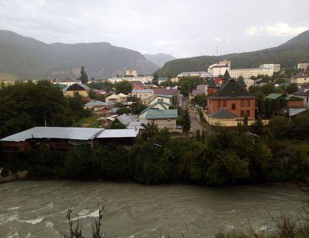 Вид центральной части города с левого берега Теберды