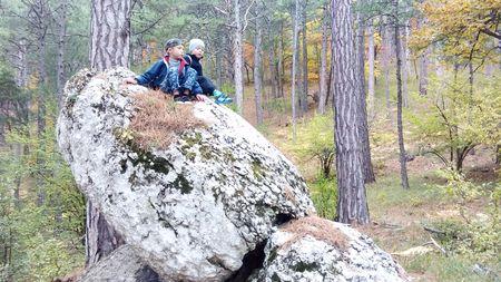 Как здорово взобраться на большой камень, похожий на голову динозавра.