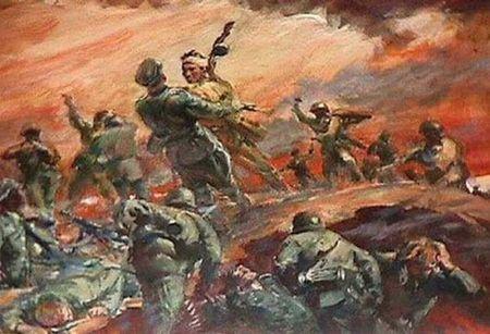 Гимираим Меденев в рукопашном бою уничтожил двух немцев