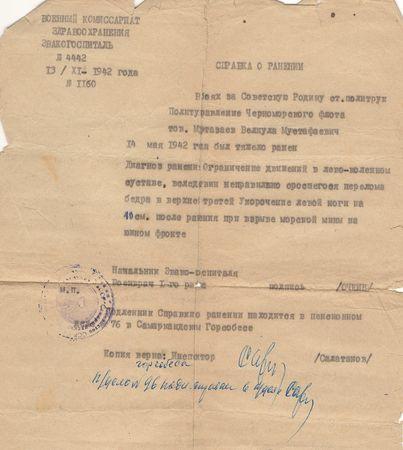 14 мая 1942 г. во время исполнения боевого задания на эсминце «Дзержинский» был ранен. Эвакуирован на излечение в эвакуационный госпиталь № 3245 в Моздок, а затем, с госпиталем, в г. Джелалабад Киргизской ССР.