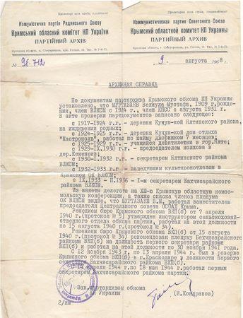 С 14 апреля и до 18 мая 1944 г. Велиулла Муртазаев работал на должности первого секретаря Бахчисарайского РК ВКП(б).