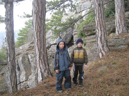 Скалы в лесу ребятам понравились